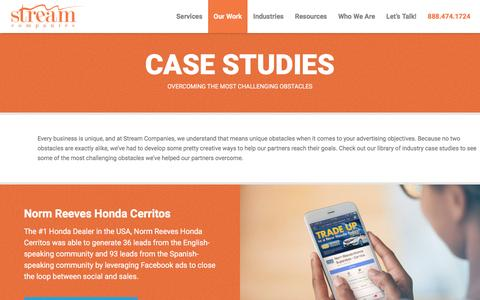 Screenshot of Case Studies Page streamcompanies.com - Examples of Our Work | Stream Companies - captured Jan. 27, 2017