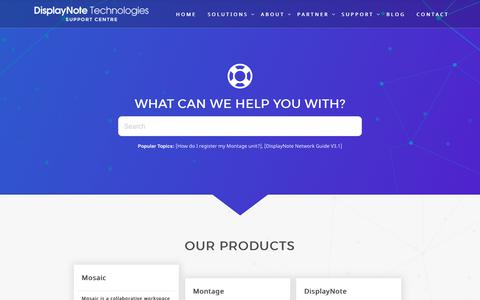 Screenshot of Support Page displaynote.com - DisplayNote Technologies Ltd - captured Oct. 12, 2017