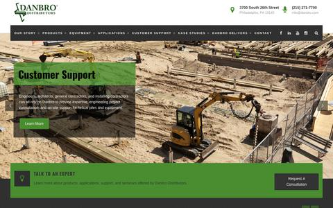 Screenshot of Home Page danbro.com - Danbro Distributors – Northeast Helical Pile Distribution and Information - captured Oct. 7, 2018