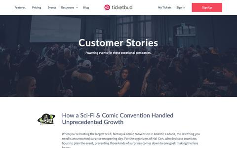 Screenshot of Testimonials Page ticketbud.com - Customers Archive - Ticketbud - captured May 1, 2019