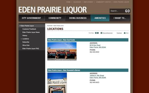 Screenshot of Locations Page edenprairie.org - City of Eden Prairie : Locations - captured June 28, 2017