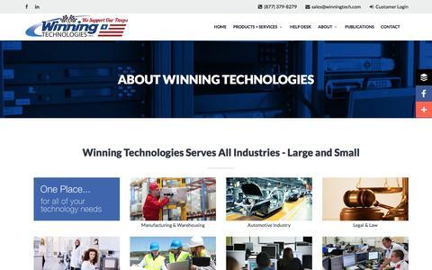 Screenshot of About Page winningtech.com - About Winning Technologies   Winning Technologies - captured Dec. 14, 2016
