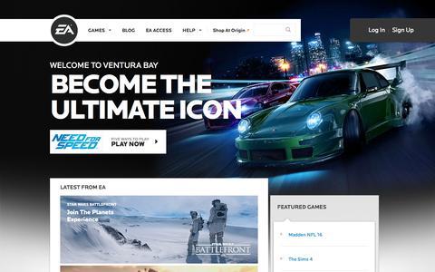 Screenshot of Home Page ea.com - EA Games - Electronic Arts - captured Nov. 5, 2015