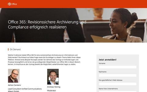 Screenshot of Landing Page office.com - Office 365: Revisionssichere Archivierung und Compliance erfolgreich realisieren - captured Dec. 12, 2016