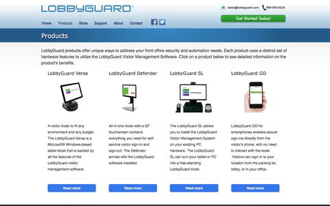 Screenshot of Products Page lobbyguard.com - Visitor Management Products and Software | LobbyGuard - captured July 20, 2019