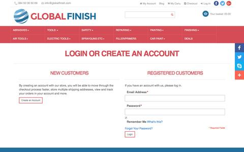 Screenshot of Login Page globalfinish.com - Customer Login | Global Finish UK - captured May 19, 2017