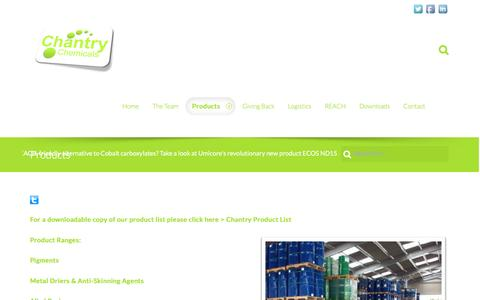 Screenshot of Products Page chantrychemicals.com - Products | Chantry Chemicals - captured Nov. 4, 2016