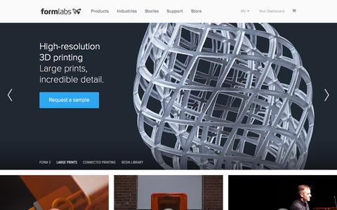 Screenshot of Home Page formlabs.com - Desktop Stereolithography (SLA) 3D Printing – Formlabs - captured Oct. 20, 2015