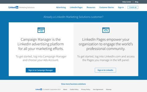 Screenshot of Login Page linkedin.com - Sign in   LinkedIn Marketing Solutions - captured Dec. 20, 2019