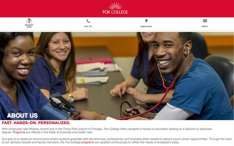 Screenshot of About Page foxcollege.edu - Fox College: Associate Degree and Diploma Programs in Business, Technology, Health Care - captured Aug. 3, 2015