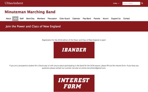 Screenshot of Signup Page umass.edu - Join the Power and Class of New England | UMass Amherst Minuteman Marching Band - captured June 2, 2018