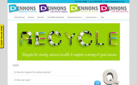 Screenshot of FAQ Page dennons.co.uk - FAQS ‹ Dennons – Office Supplies, Stationery and everything for Business - captured Sept. 30, 2014