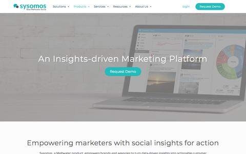 Screenshot of Products Page sysomos.com - Social Media Management & Analytics Software Platform | Sysomos - captured July 12, 2019
