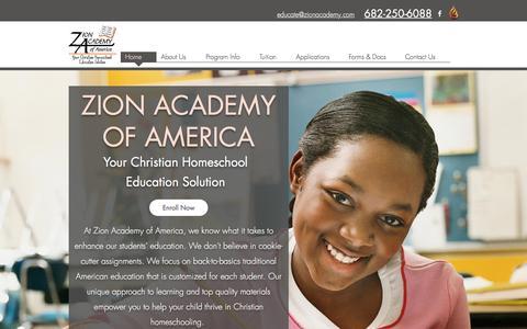 Screenshot of Home Page zionacademy.com - Zion Academy | Christian Homeschool Education - captured July 5, 2018