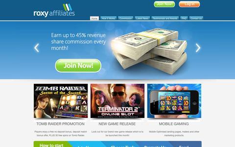 Screenshot of Home Page roxyaffiliates.com - Casino Affiliate Program | Roxy Affiliates - captured Sept. 24, 2014