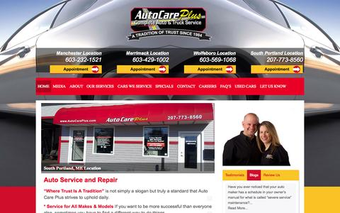 Screenshot of Home Page autocareplus.com - Auto Care Plus - Where Trust is a Tradition - captured Aug. 2, 2015