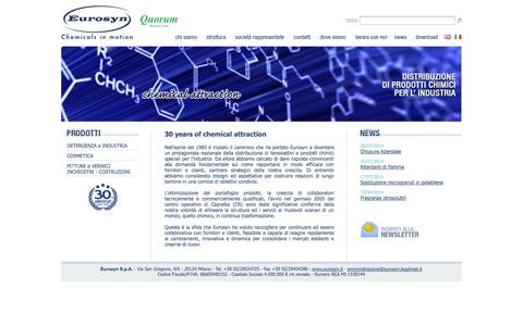 Screenshot of Home Page eurosyn.it - Eurosyn - Chemicals in motion - captured Oct. 2, 2014