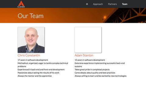 Screenshot of Team Page aligned.io - Our Team - Aligned Software Solutions Inc. - captured Oct. 4, 2014