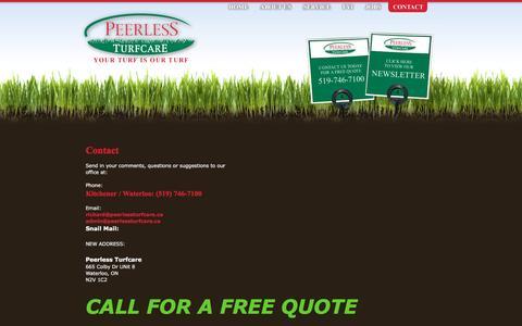Screenshot of Contact Page peerlessturfcare.ca captured July 12, 2016