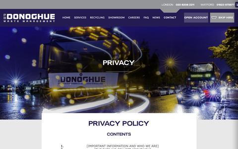 Screenshot of Privacy Page pbdonoghue.com - Privacy | P.B. Donoghue - captured Dec. 7, 2018
