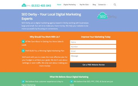 Screenshot of Home Page seo-derby.co.uk - SEO Derby - We're #1 For SEO - Why Choose Any Other Company? - captured Sept. 19, 2014