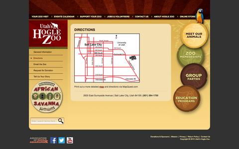 Screenshot of Maps & Directions Page hoglezoo.org - Directions « Utah's Hogle Zoo - captured Sept. 19, 2014