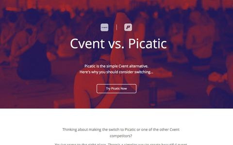 Screenshot of Landing Page picatic.com - Picatic - The Simple Alternative to Cvent - captured March 25, 2018