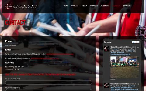 Screenshot of Contact Page gallantentertainmentinc.com - Contact - Gallant Entertainment Inc. - captured Sept. 29, 2014