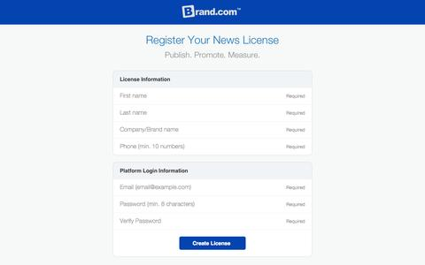 Screenshot of Signup Page brand.com - Brand.com™   SaaS News Platform For Brands - captured Sept. 23, 2014