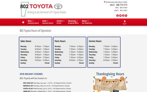 Screenshot of Hours Page 802toyota.com - Hours of Operation & Holiday Closures | 802 Toyota - captured Oct. 18, 2018