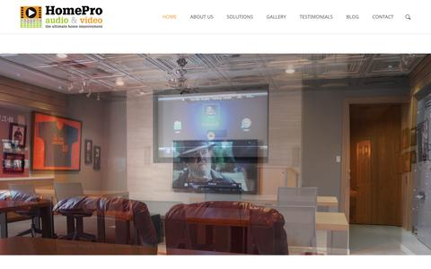 Screenshot of Home Page homeproav.net - HomePro Audio & VideoHomePro Audio & Video- Home Theater, Whole Home Audio - captured Feb. 1, 2016