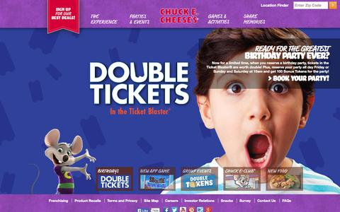 Screenshot of Home Page chuckecheese.com - Where Awesome Parents Go.™ | Chuck E. Cheese's - captured Sept. 19, 2014