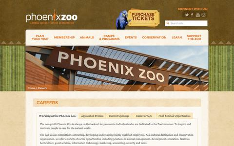 Screenshot of Jobs Page phoenixzoo.org - Careers - Phoenix Zoo - captured Oct. 4, 2016