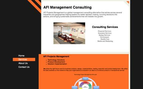 Screenshot of Services Page afiprojects.com - AFI Management Consulting - AFI Projects ManagementTechnology Solutions Product Development Solution Implementation  We utilize the right frame work for business analysis, design, implementation, testing, execution and product deployment. We utilize  - captured Nov. 19, 2016