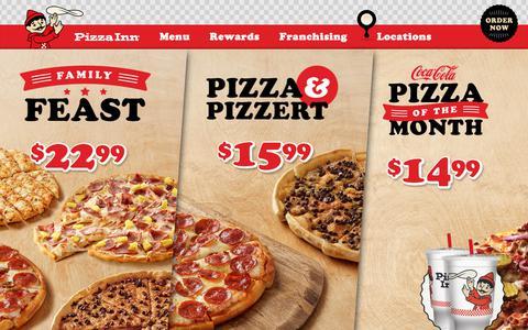 Screenshot of Home Page pizzainn.com - Pizza Inn - Baked Fresh Since 1958 - captured July 19, 2018