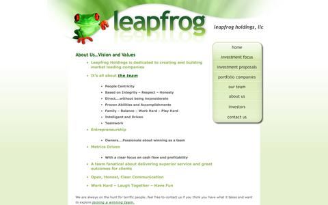 Screenshot of About Page leapfrogholdings.com - Leapfrog Holdings, LLC - captured Oct. 2, 2014