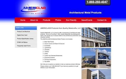 Screenshot of Products Page americlad.com - Explore the AMERICLAD® Line of Products - Quality Metalcrafts, LLC - Architectural Metal Products - 1-866-260-4047 - Innovating with Metal® - captured Jan. 29, 2016