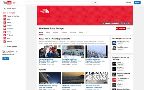 Screenshot of YouTube Page youtube.com - The North Face Europe  - YouTube - captured Oct. 26, 2014