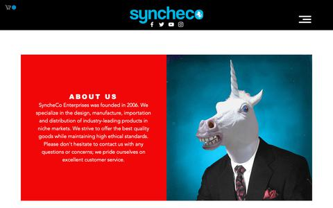 Screenshot of About Page synche.com - ABOUT US | SyncheCo. - captured Oct. 19, 2018
