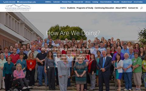 Screenshot of Home Page wpcc.edu - Western Piedmont Community College - Morganton, NC - captured Feb. 25, 2016