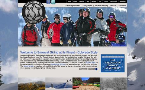 Screenshot of Home Page steamboatpowdercats.com - Snowcat skiing in Steamboat Springs with Steamboat Powdercats is cat skiing at its finest. - captured Oct. 8, 2014