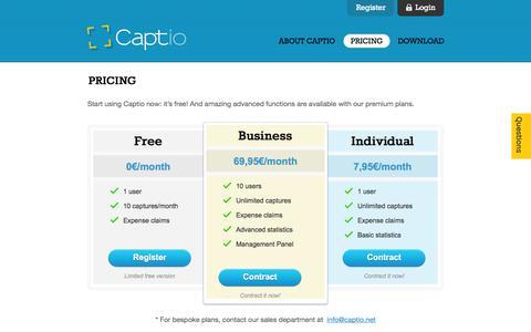 Screenshot of Pricing Page captio.com - Pricing | Captio - captured Sept. 13, 2014