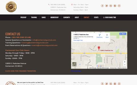 Screenshot of Contact Page centennialgunclub.com - Contact - Centennial Gun ClubCentennial Gun Club - captured Dec. 7, 2015