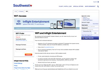 Screenshot of Signup Page southwest.com - WiFi Access - Southwest Airlines - captured Sept. 6, 2016