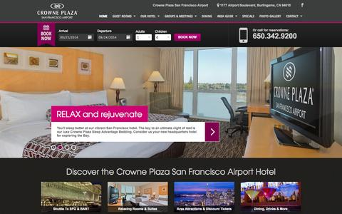 Screenshot of Home Page sfocp.com - San Francisco Airport Hotels | Crowne Plaza San Francisco Airport - captured Sept. 23, 2014