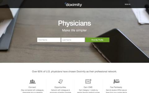 Screenshot of Home Page doximity.com - Physician's Network & Healthcare Directory for Doctors, NPs, PAs & RNs - captured Oct. 1, 2015