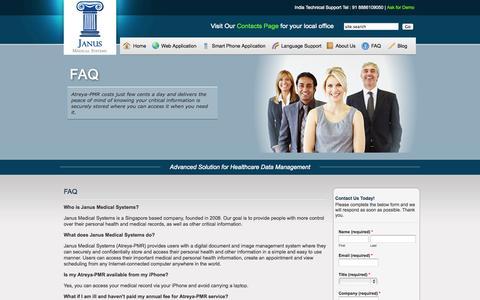 Screenshot of FAQ Page janusmed.com - FAQ | Janus Medical Systems - captured Oct. 6, 2014