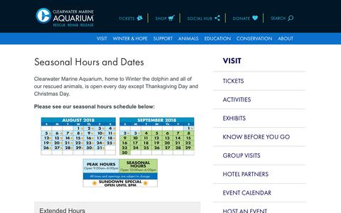 Screenshot of Hours Page seewinter.com - Hours | Clearwater Marine Aquarium - captured Aug. 11, 2018