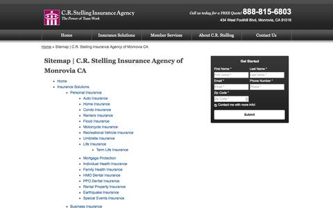 Screenshot of Site Map Page crstelling.com - Sitemap | C.R. Stelling Insurance Agency of Monrovia CA - captured Oct. 1, 2014