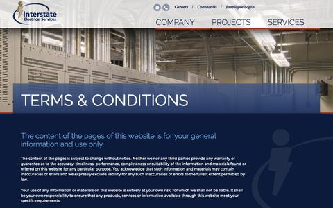 Screenshot of Terms Page iesc1.com - Terms & Conditions | Interstate Electrical Services - captured Nov. 3, 2014